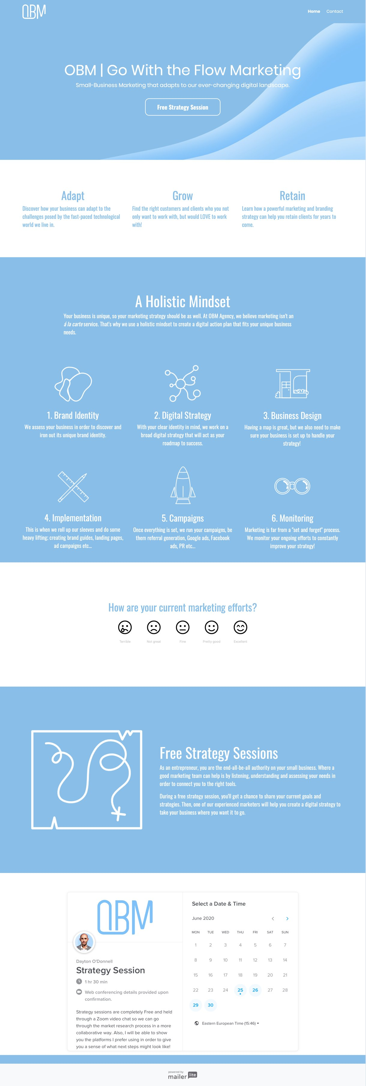 OBM agency landing page example light blue and white design - MailerLite