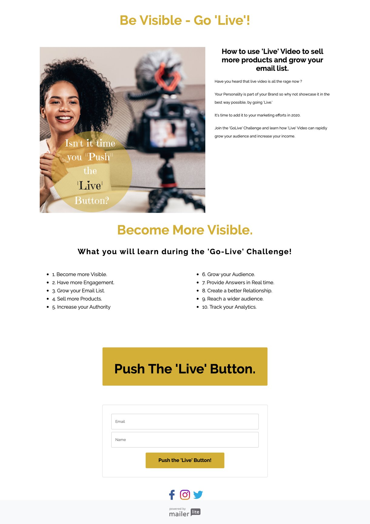 Challenge landing page from Eziamaka Odunze white background gold buttons - MailerLite