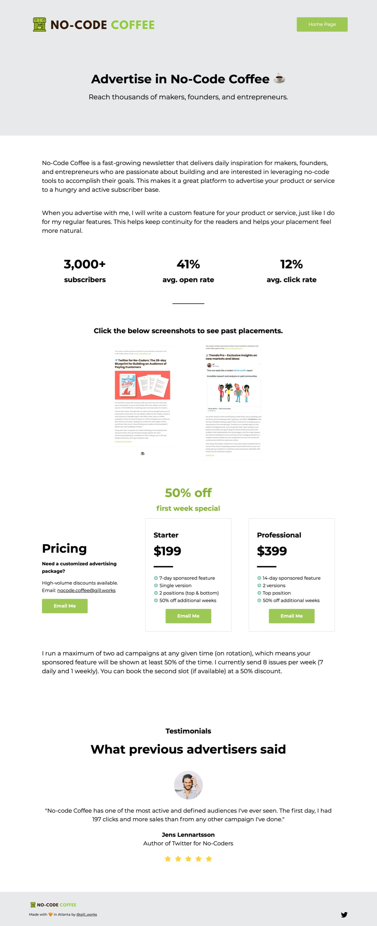 No-code coffee landing page for advertising white background green buttons - MailerLite