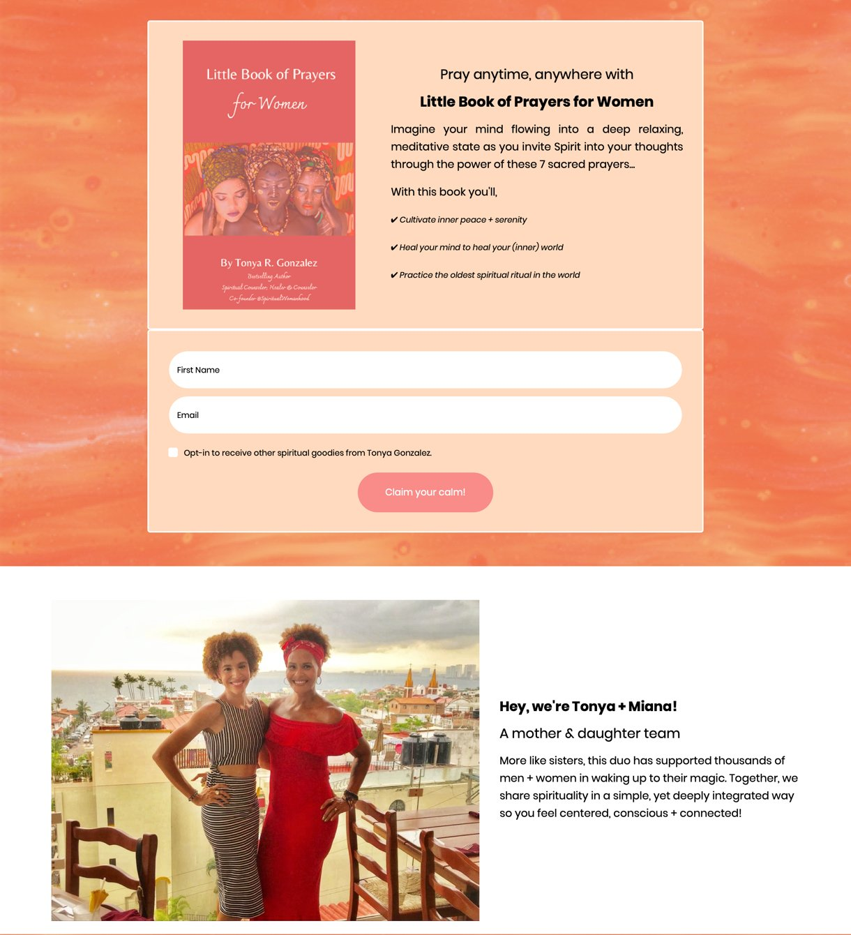Tonya + Miana free ebook landing page example orange and white