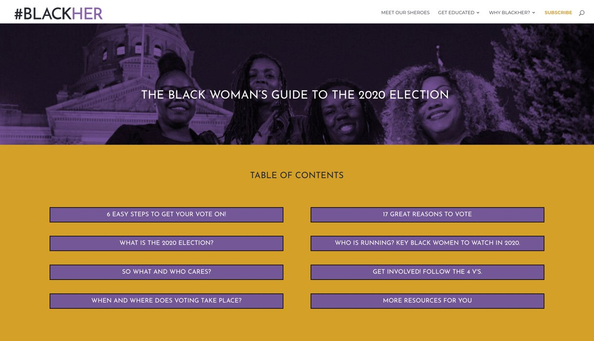 #BLACKHER course website screenshot purple beige