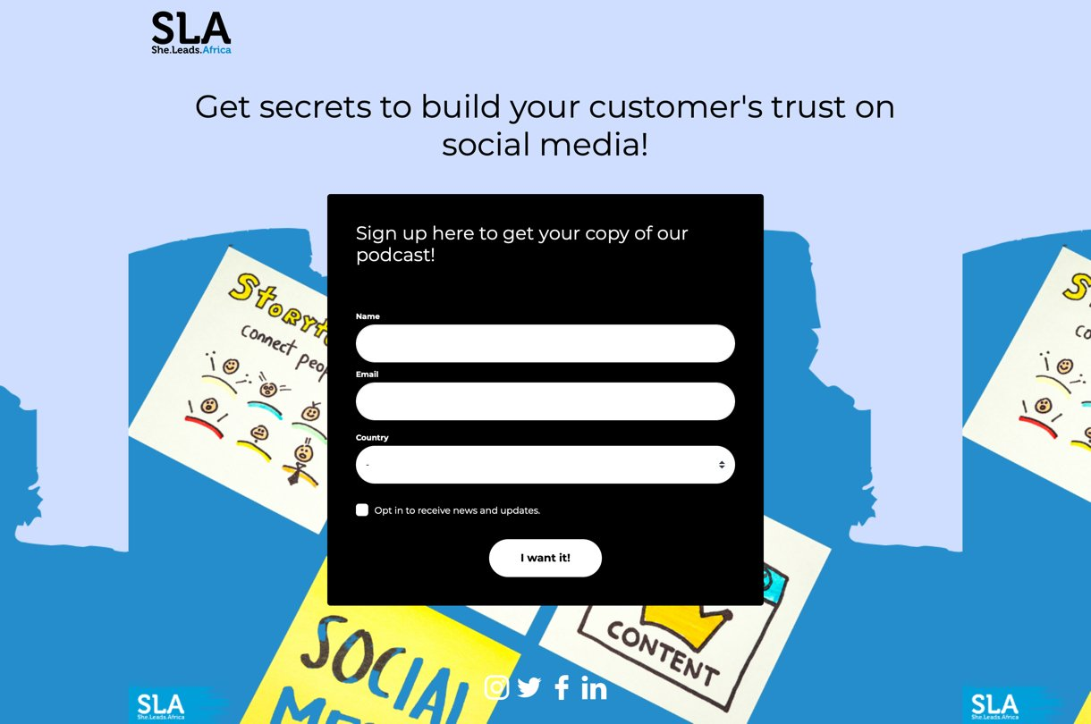 She Leads Africa podcast landing page example blue black background - MailerLite