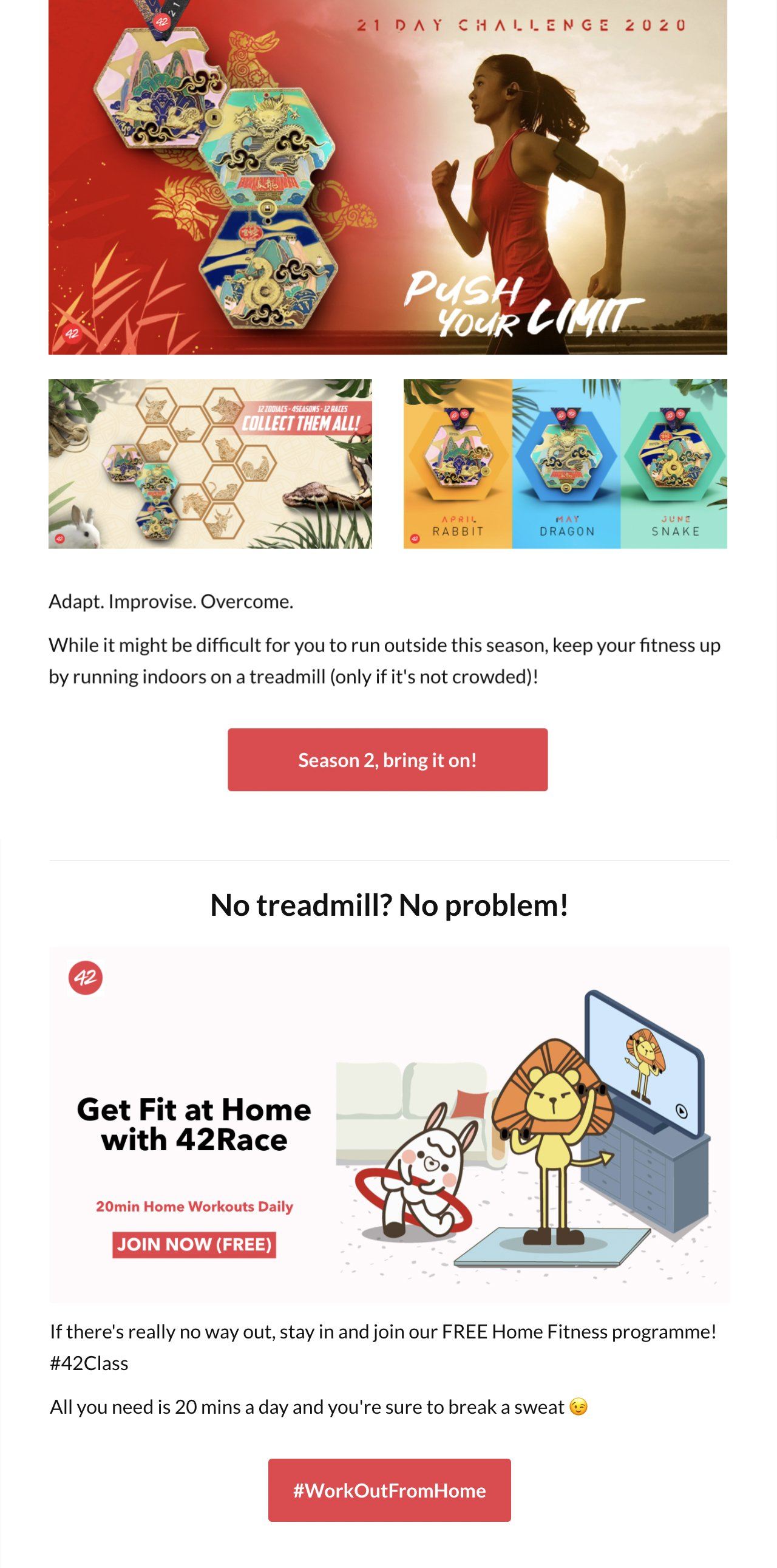 42Race virtual fitness newsletter example