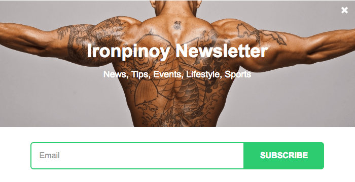 Ironpinoy newsletter subscription popup example
