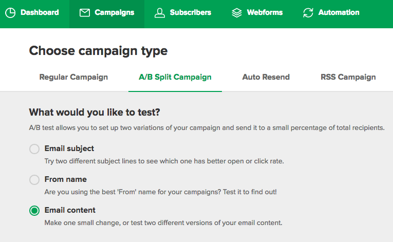 email a/b split testing call to action (CTA)