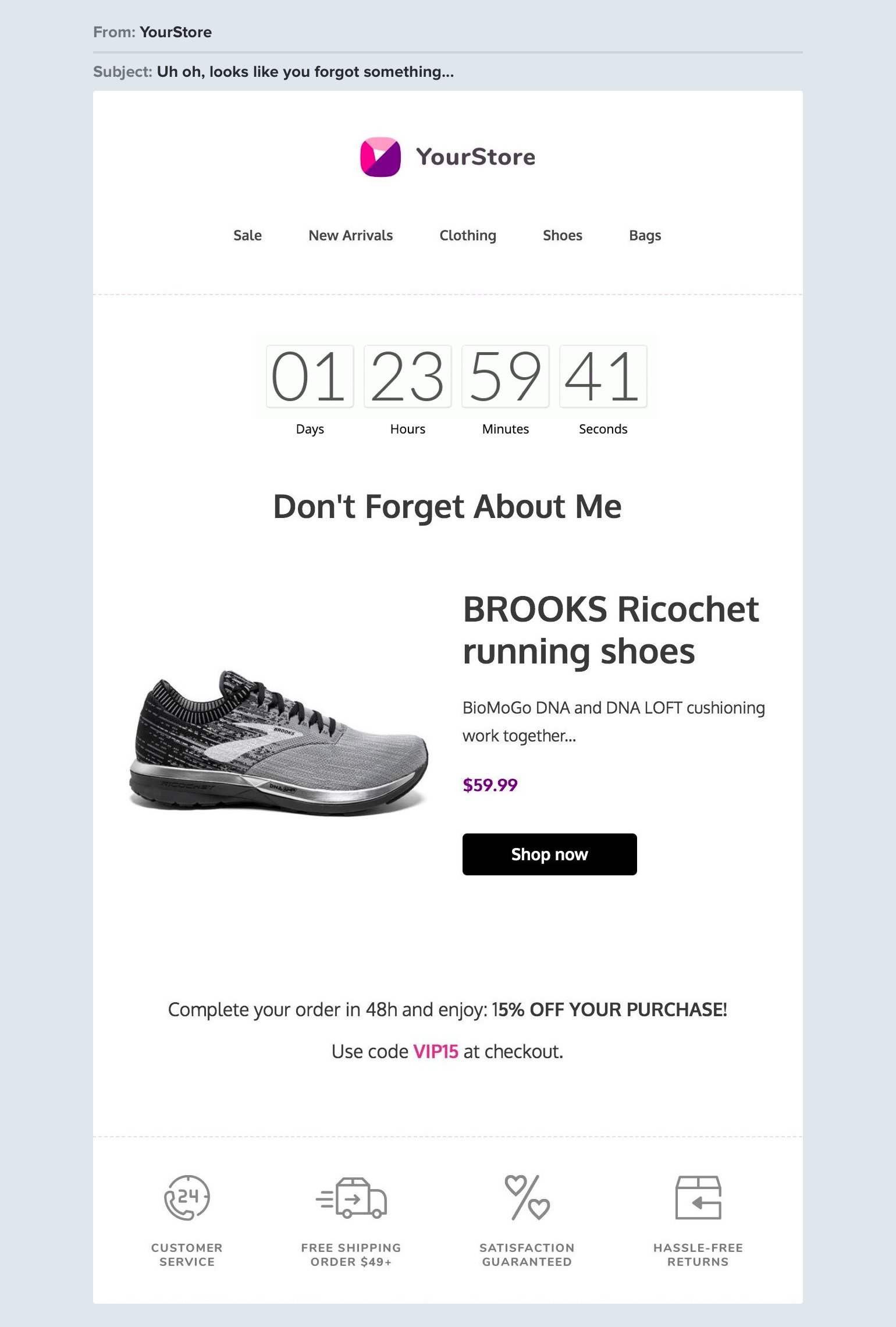 Abandoned shopping cart email example with countdown timer