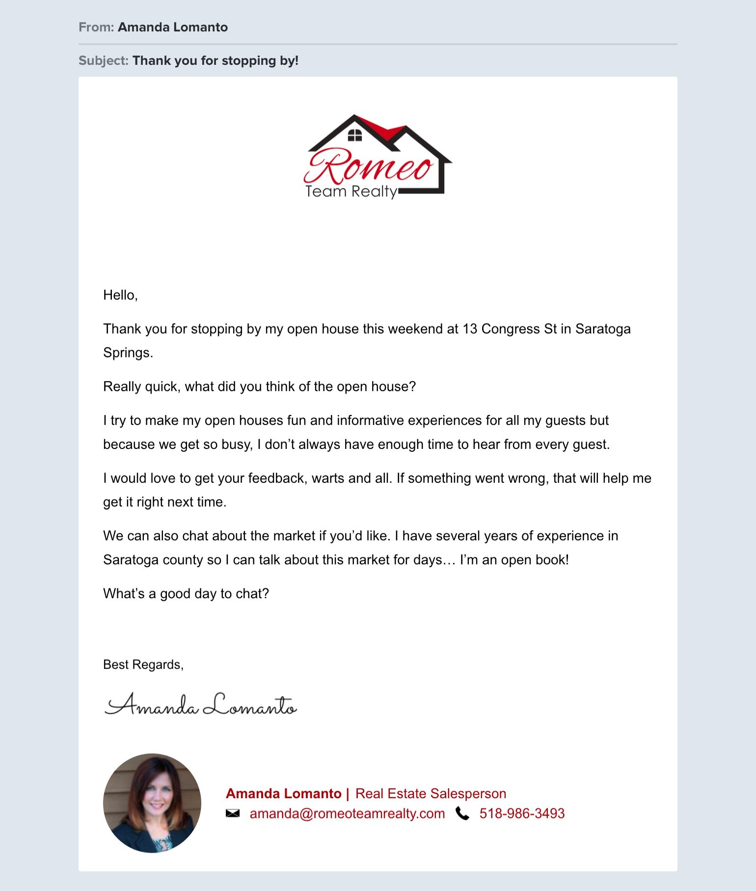 Amanda Lomanto real estate email example