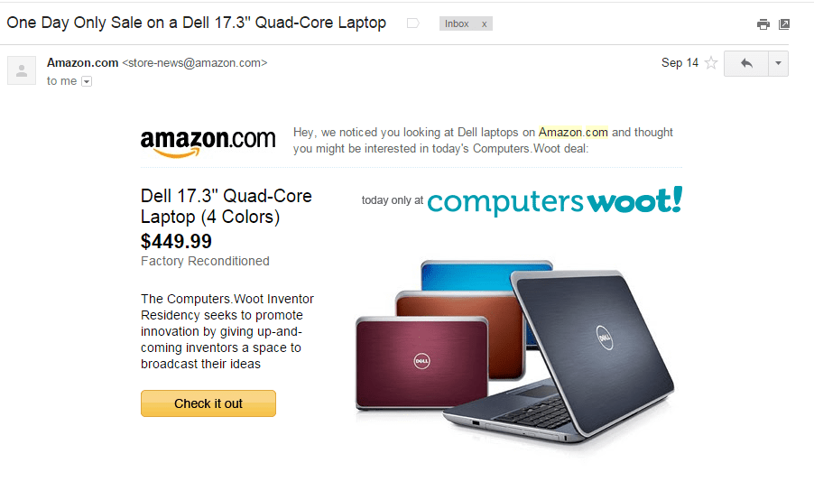 Amazon personalized offer