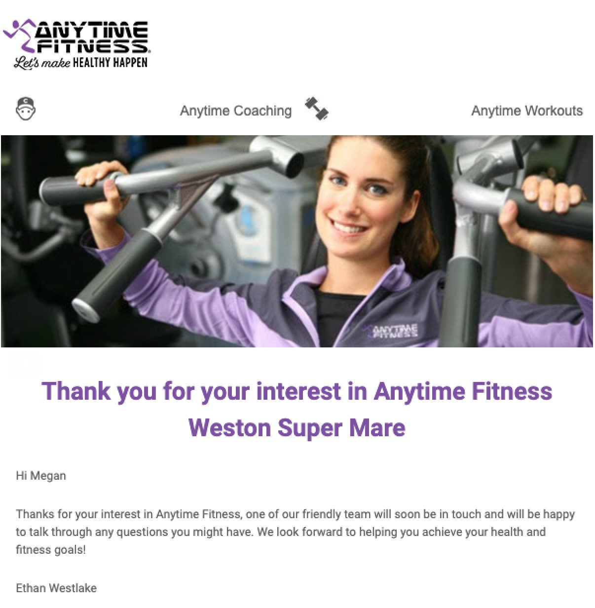 Anytime Fitness newsletter example purple letters