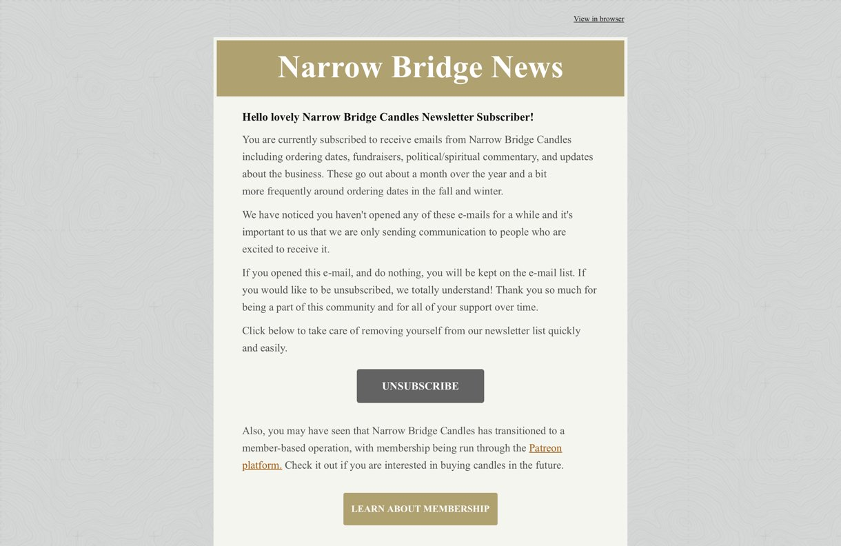 Narrow Bridge Candles light grey and beige email background - MailerLite