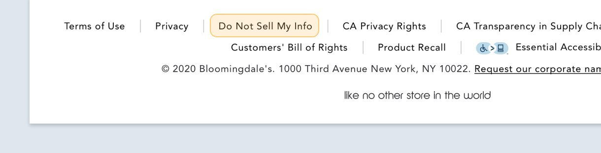 Bloomingdale's do not sell my personal information notification