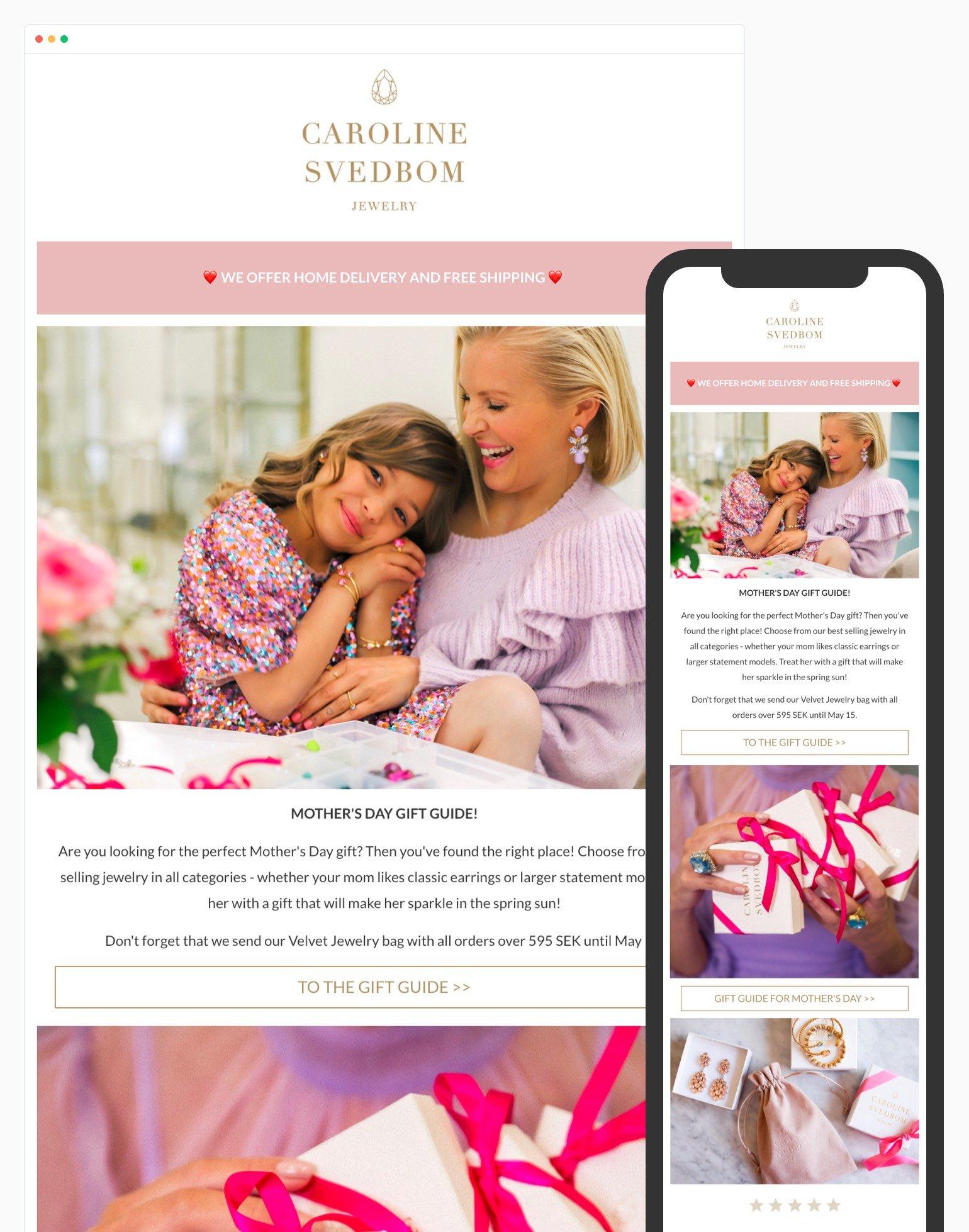 Ejemplo de diseño de correo electrónico receptivo de Caroline Svedbom