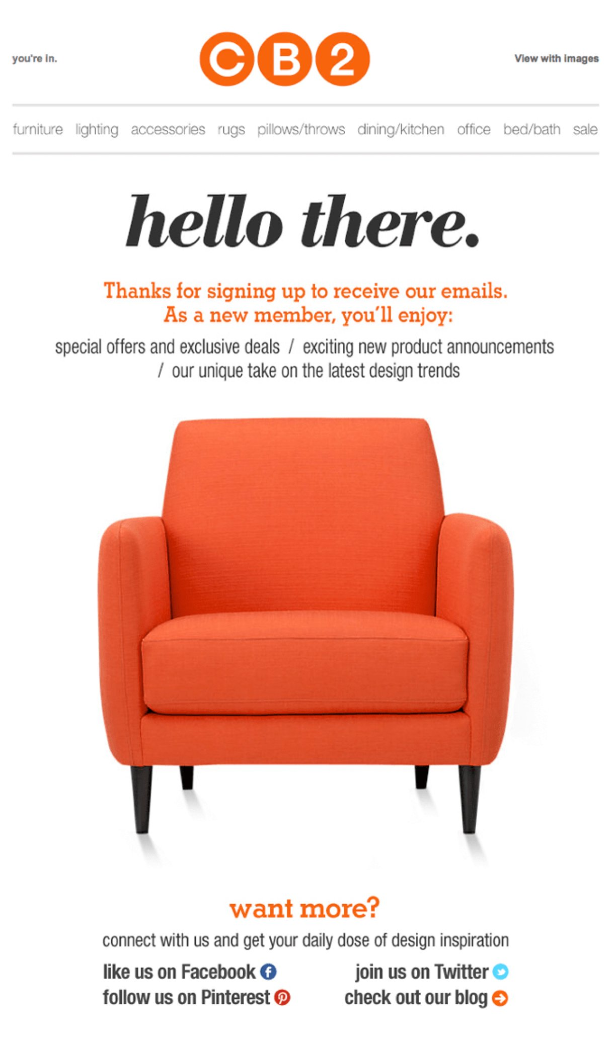 CB2 welcome email example orange chair on white background