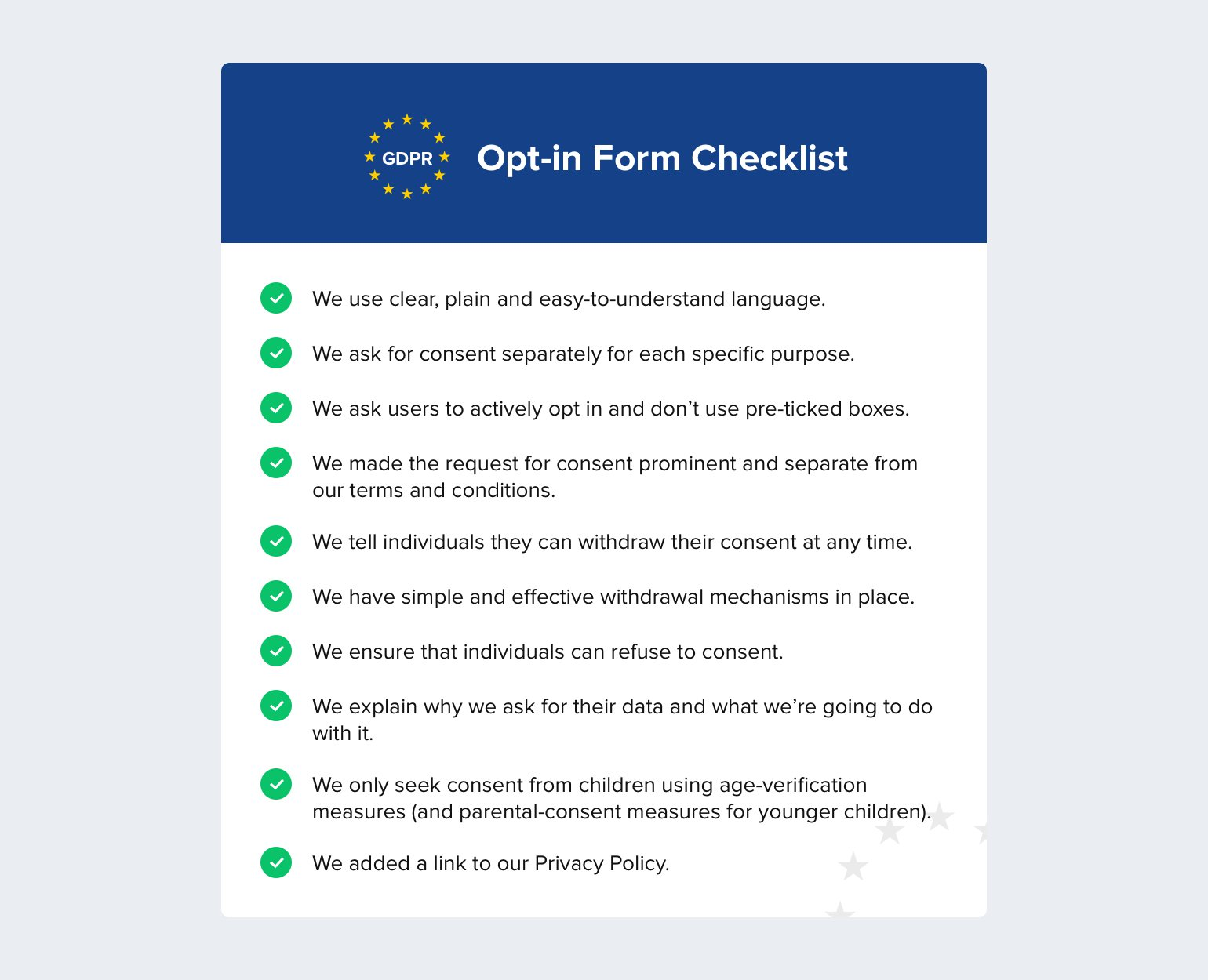 A checklist for creating compliant opt-in forms - MailerLite