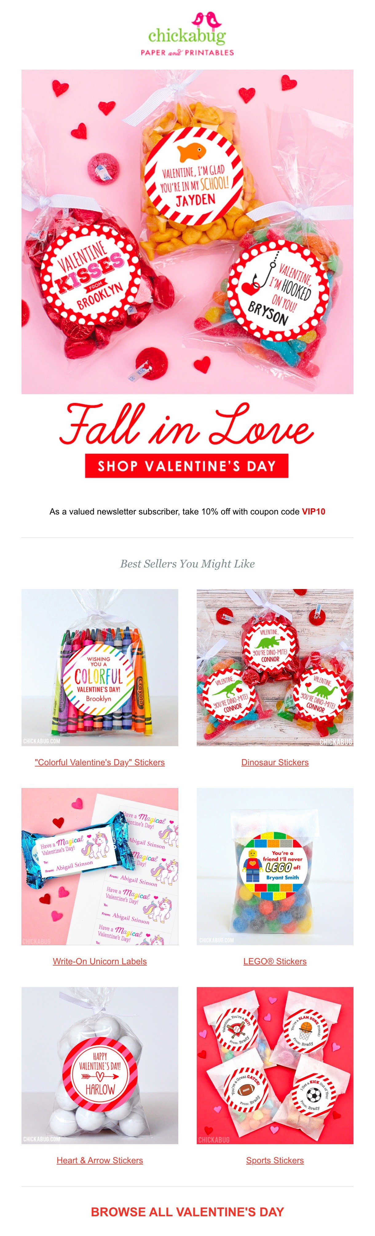 chickabug colorful valentines day newsletter
