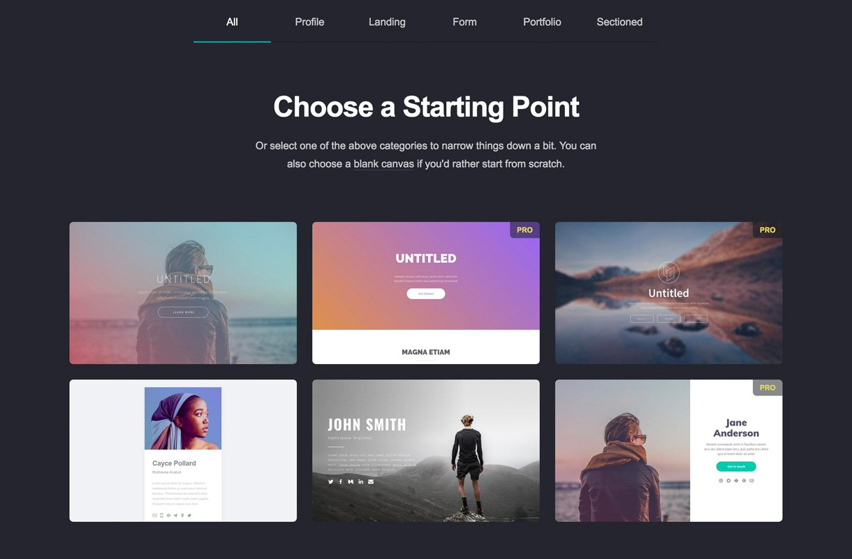 choose template carrd landing pages
