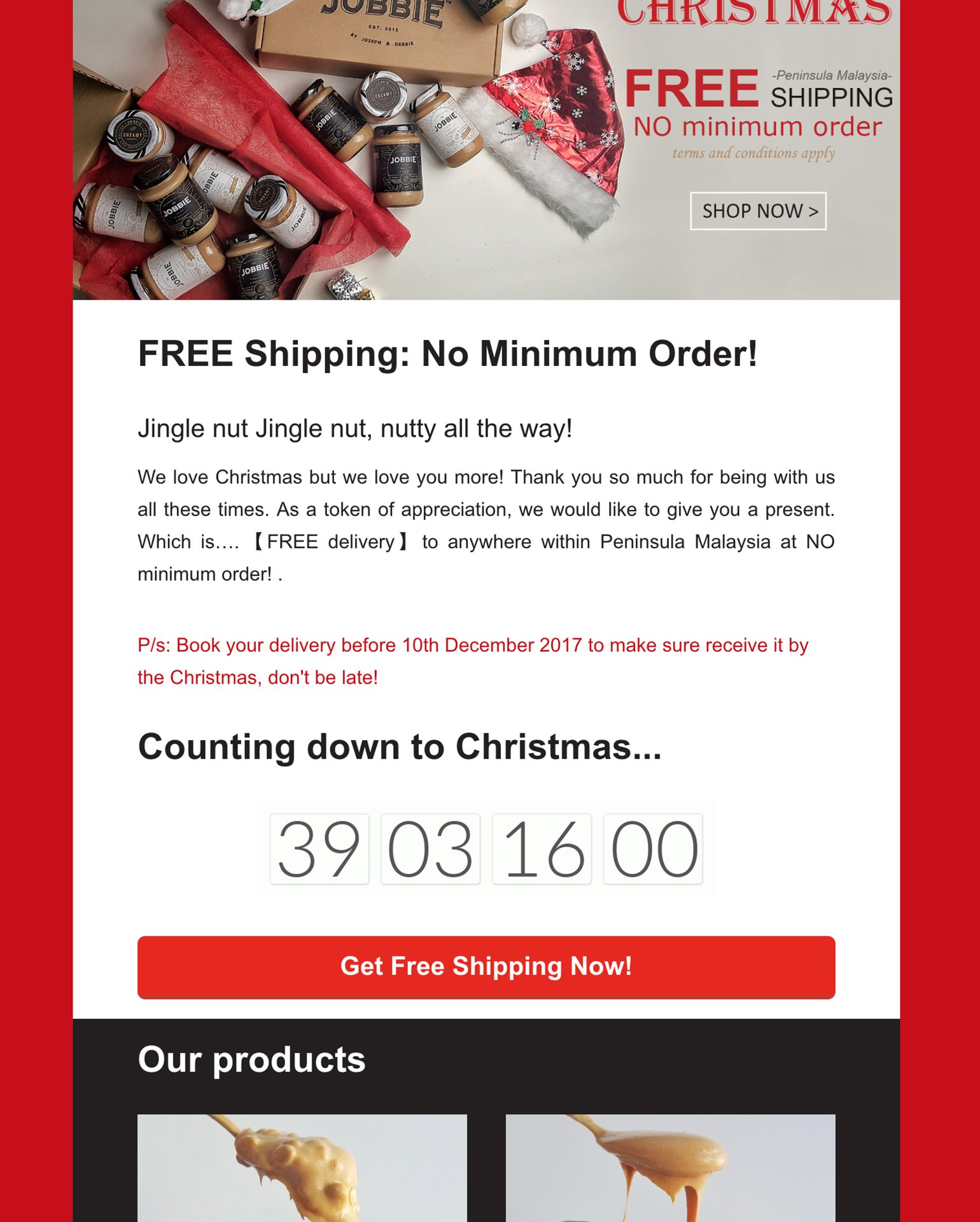Holiday Email Marketing urgency countdown clock