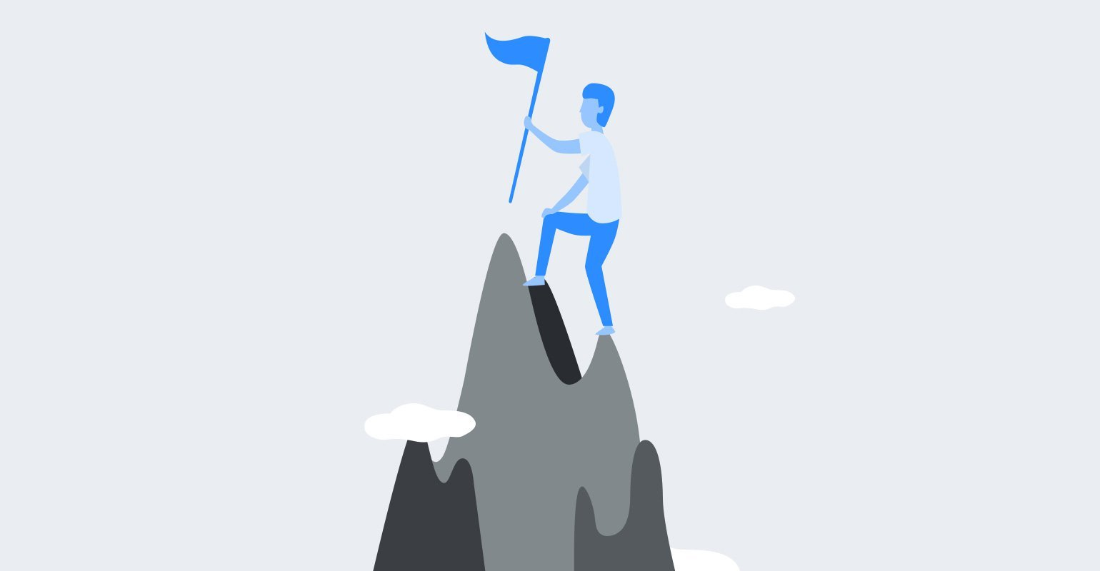 Optimizing content goals blue man climbing up a grey mountain graphic - MailerLite