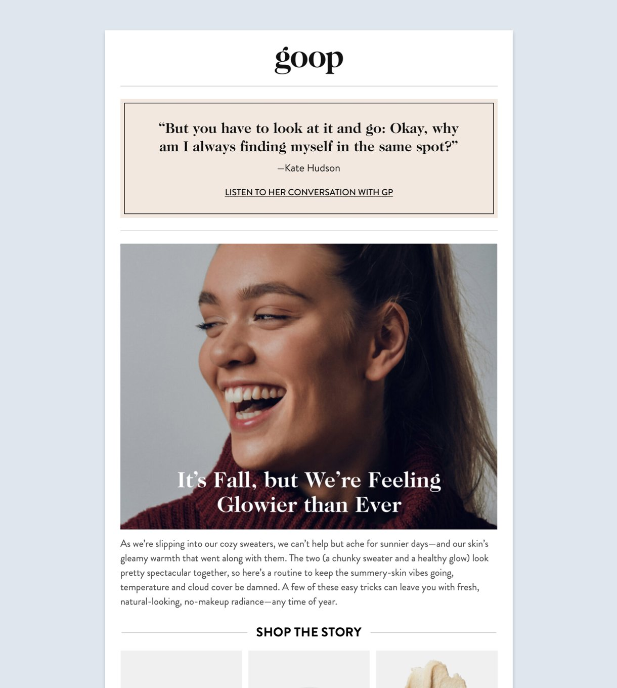 Goop email newsletter example girl smiling background white minimalist