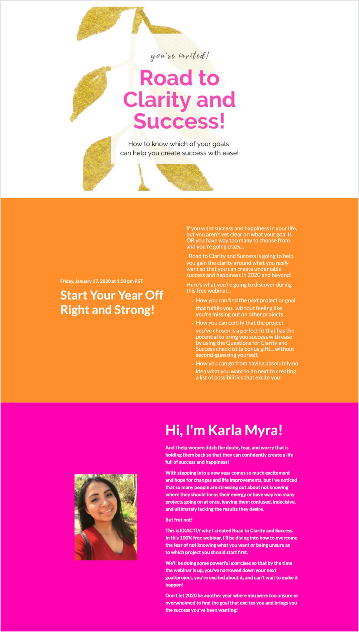 Karla Myra's landing page tricolor example white pink orange