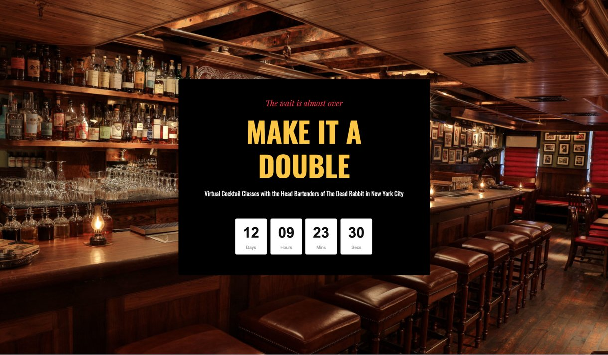 high converting Landing page example countdown timer black bar background for the Dead Rabbit bar