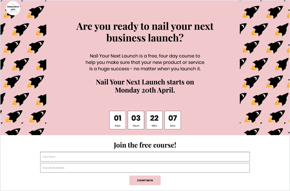 light pink countdown Landing page signup for The Independent Girls Collective - Mailerlite