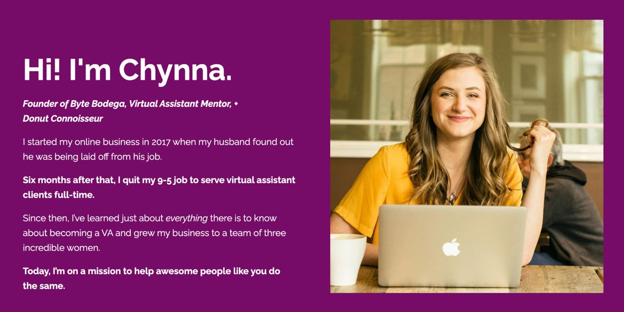 Chynna Benton's high converting landing page example purple background girl on laptop
