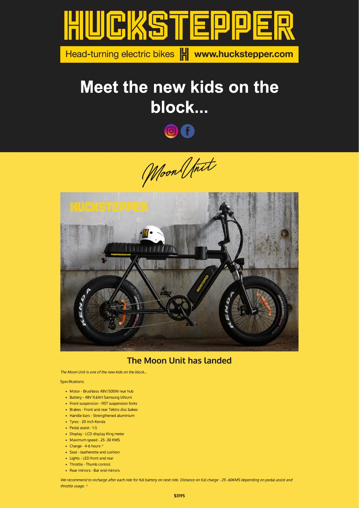 Landing page for Huckstepper yellow and black motorcycle example - mailerlite