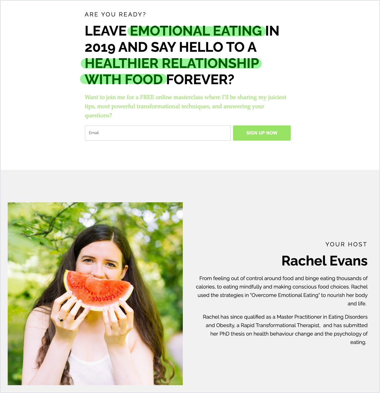 Landing page for Rachel Evans emotional eating green colors - mailerlite