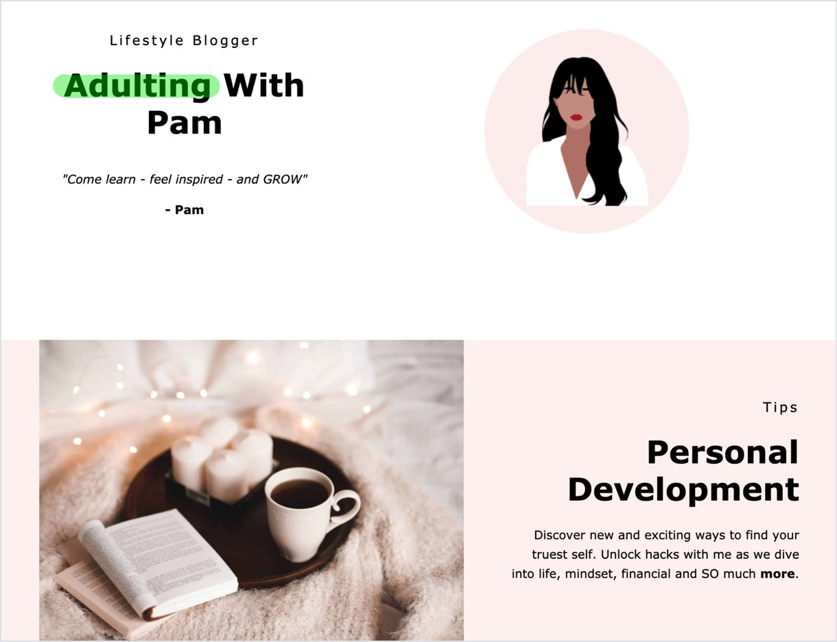 Adulting With Pam's high converting landing page example white and light rose
