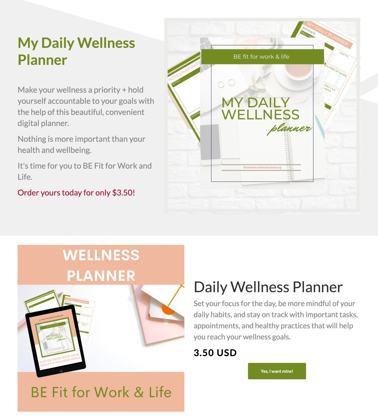Life and wellness digital product example