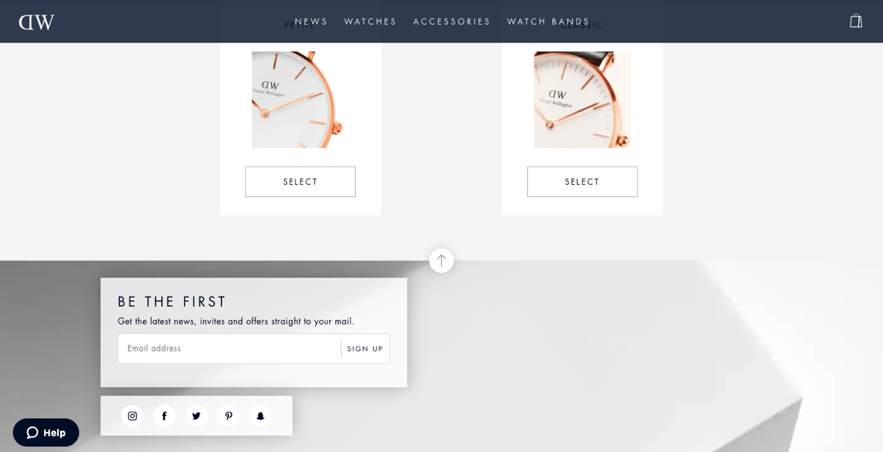 Daniel Wellington signup form example