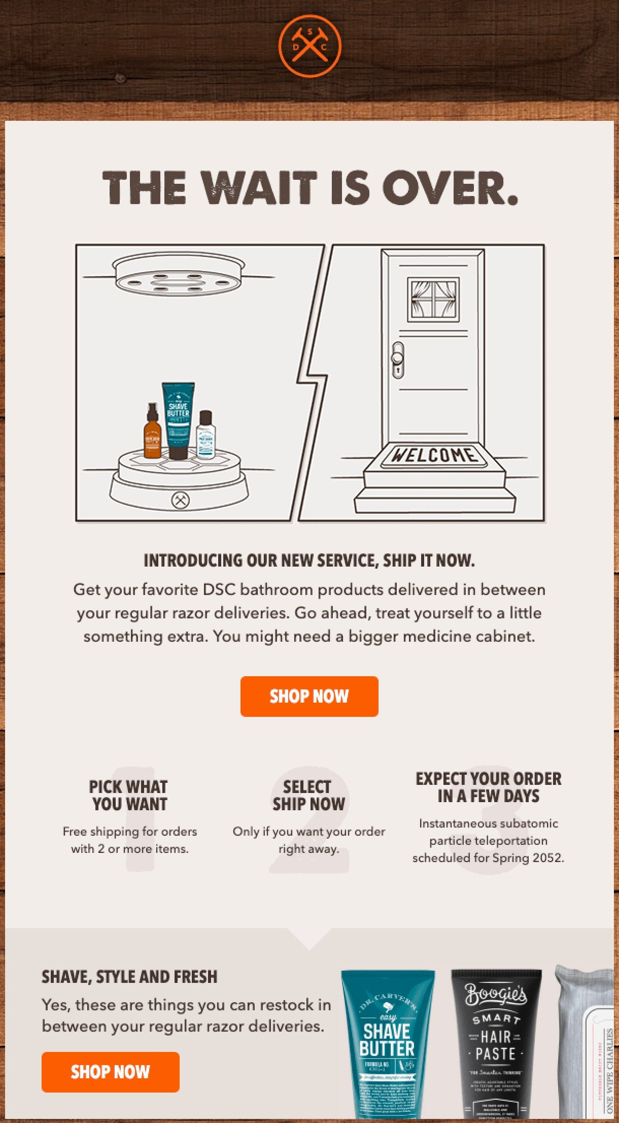 Dollar Shave Club upsell newsletter example