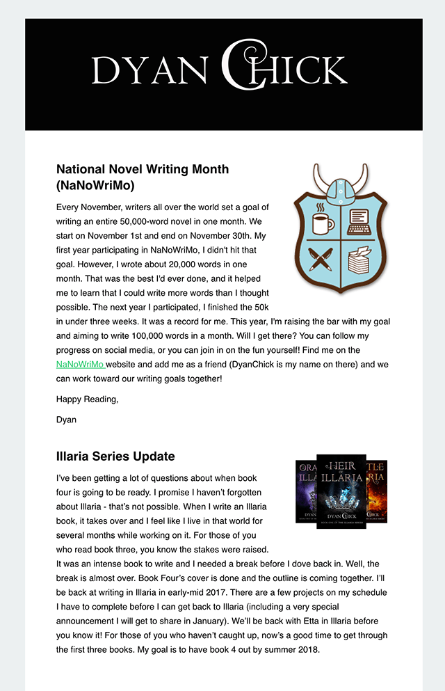 Author Newsletter Example 6