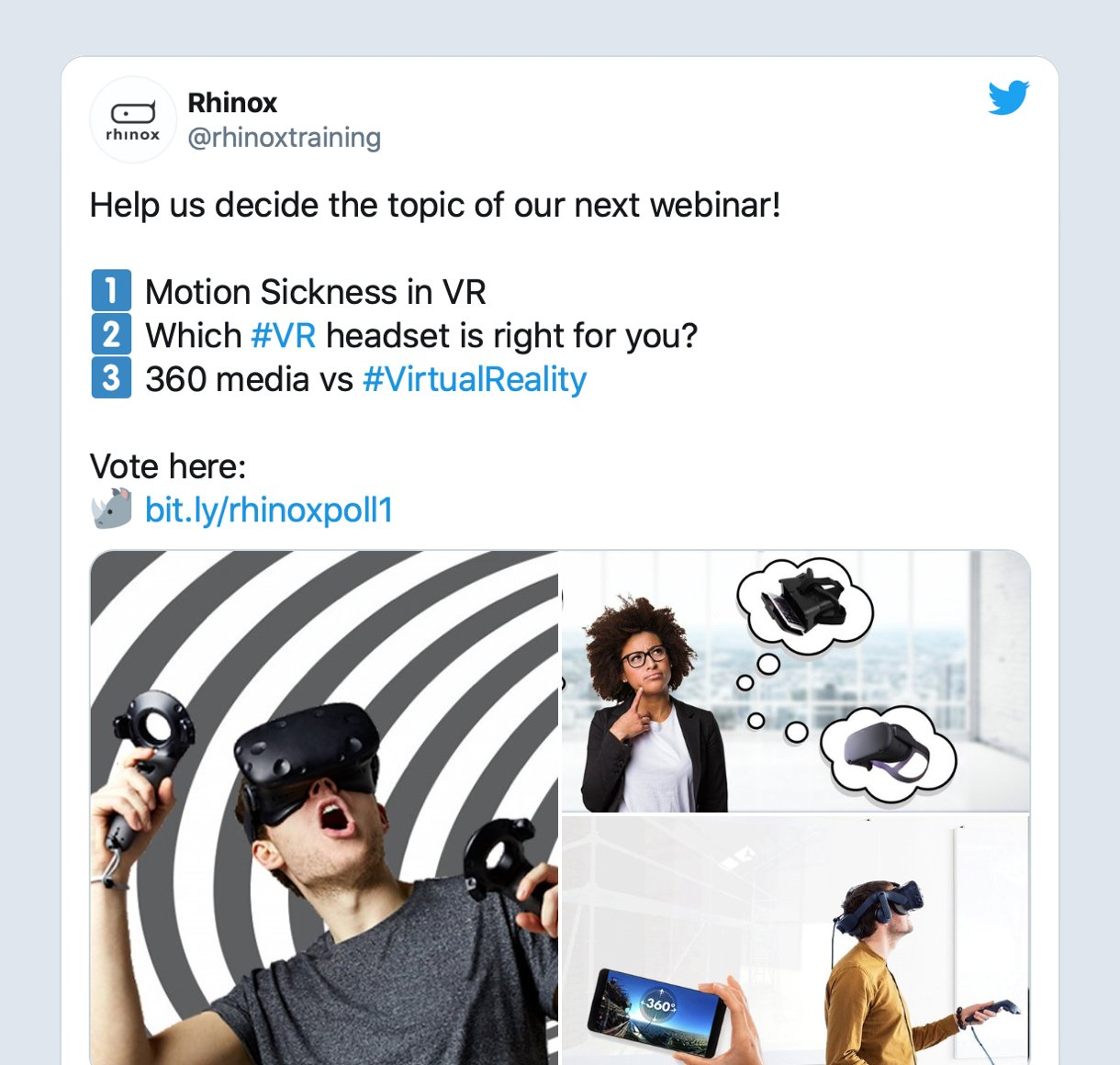 Vote for next webinar Twitter promotion example by Rhinox training