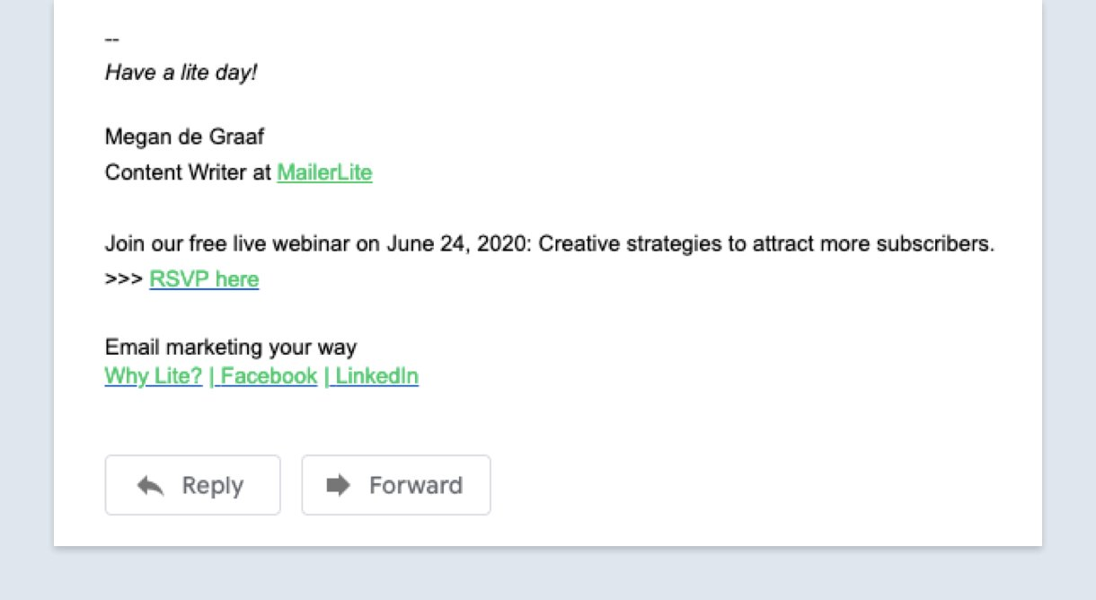 Email signature example with webinar promotion green links - MailerLite