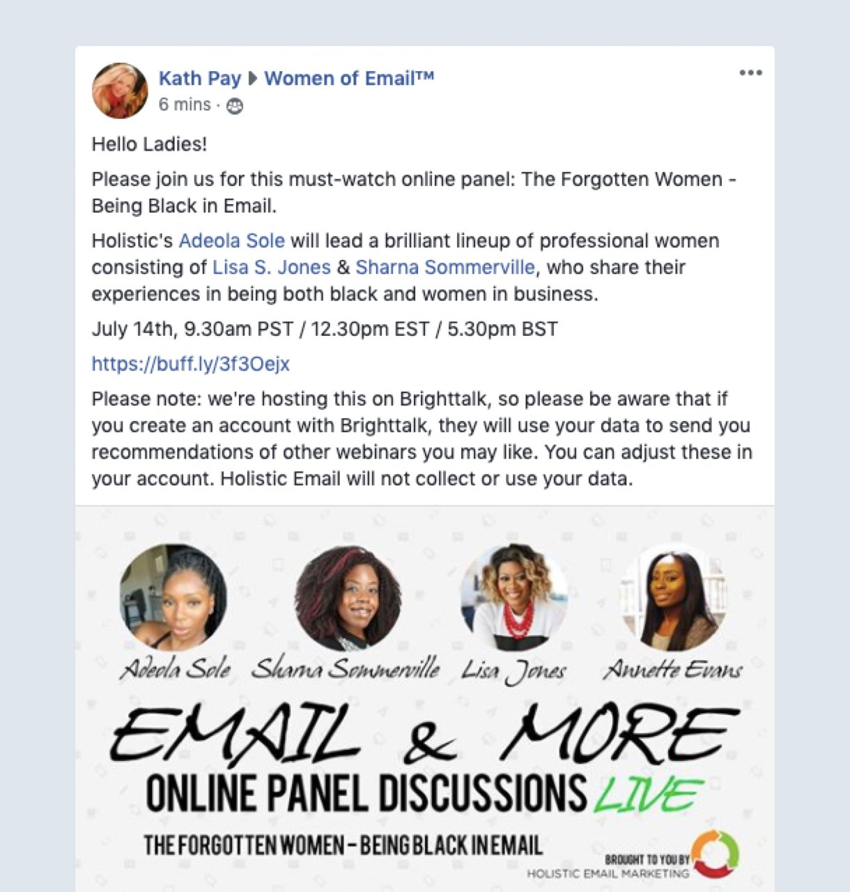 Facebook group webinar promotion example by women of email