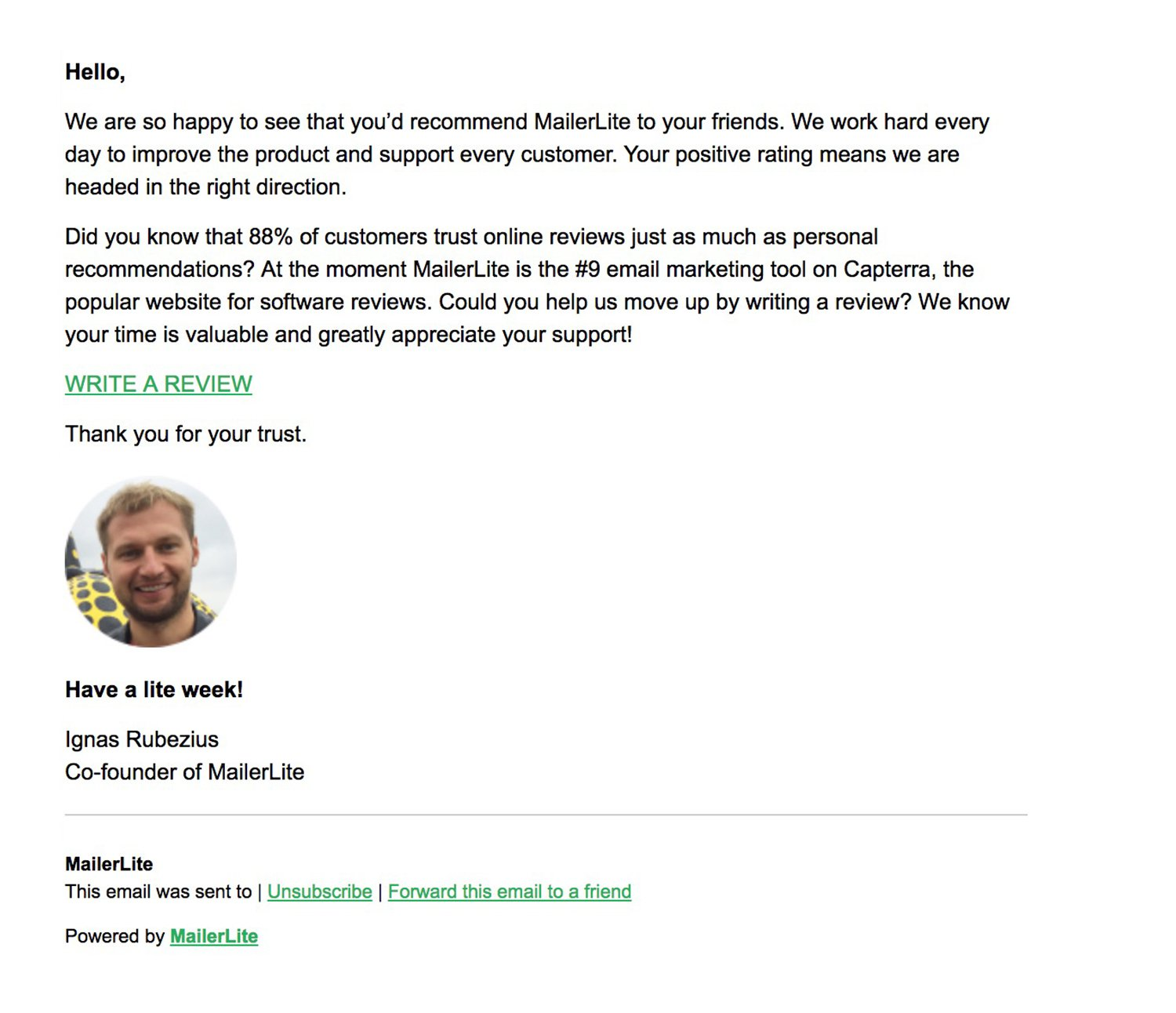 8e0c181a6ceb Using email to personalize NPS customer feedback - MailerLite