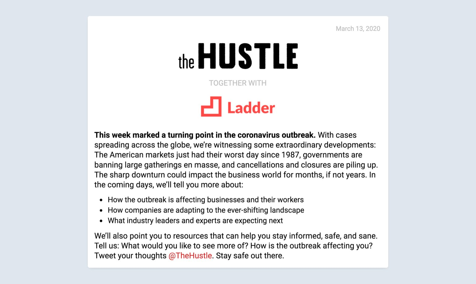 hustle email communication example during uncertain times