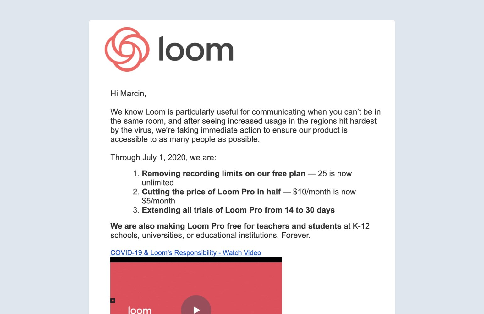 loom email communication example during uncertain times