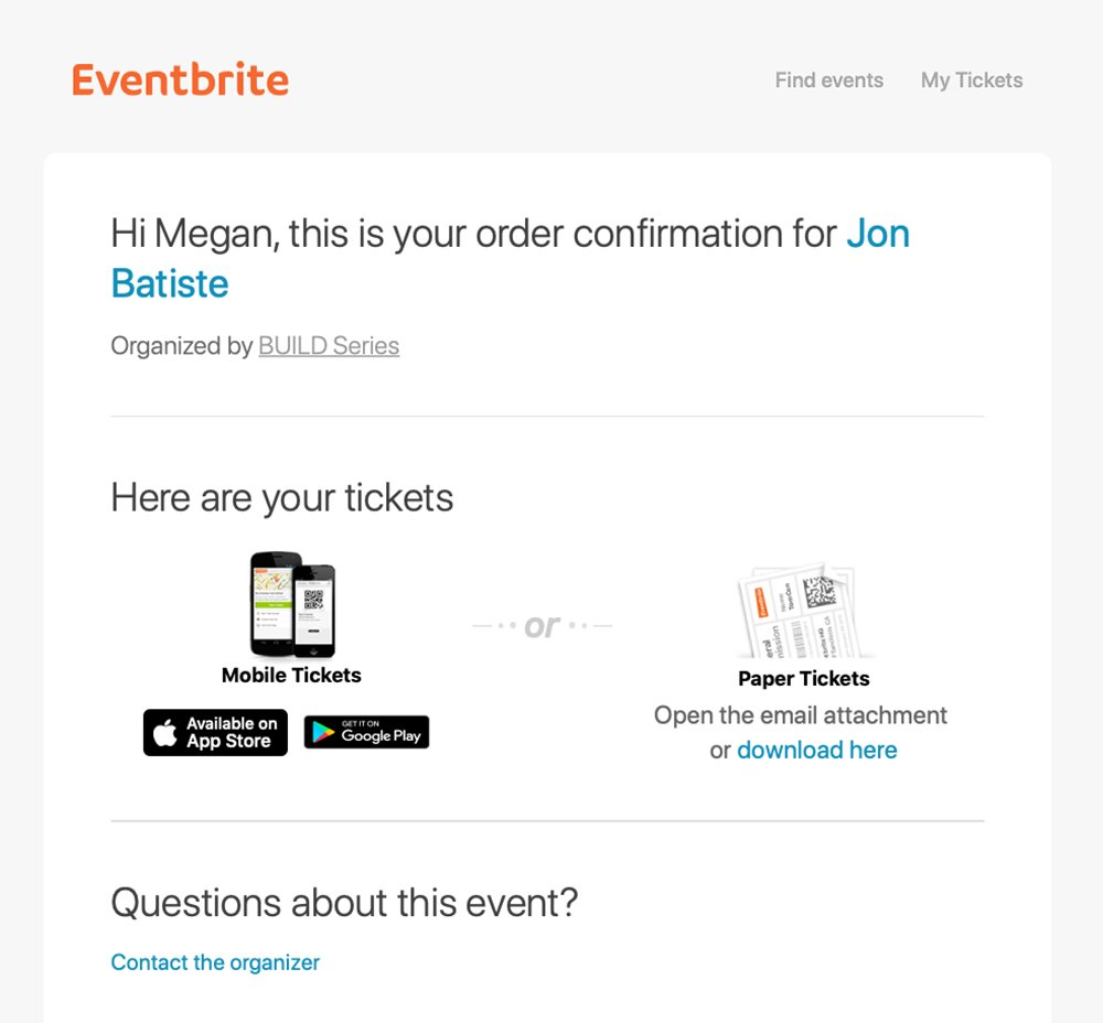 Event newsletter - Eventbrite confirmation email example
