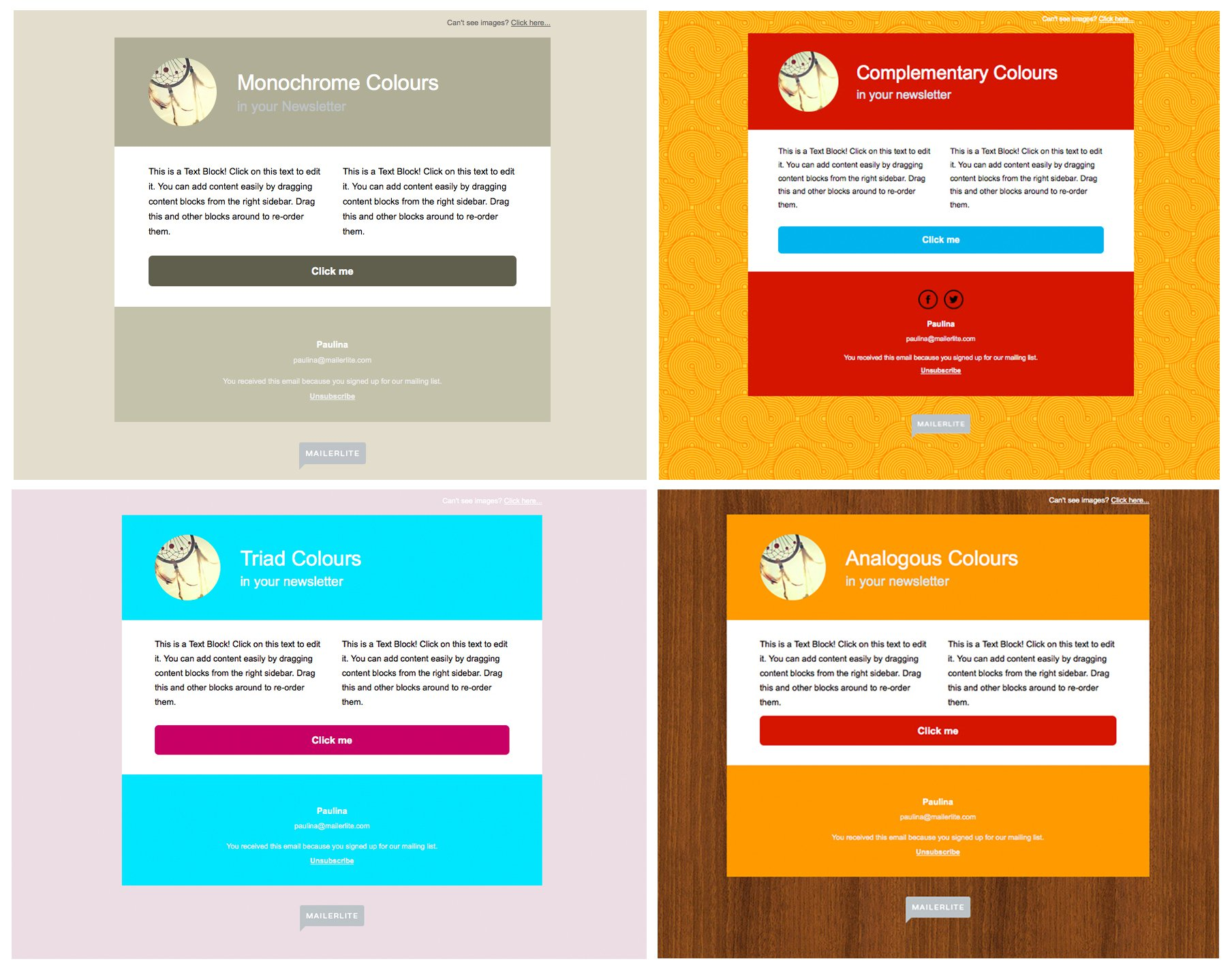 Newsletter examples -color schemes