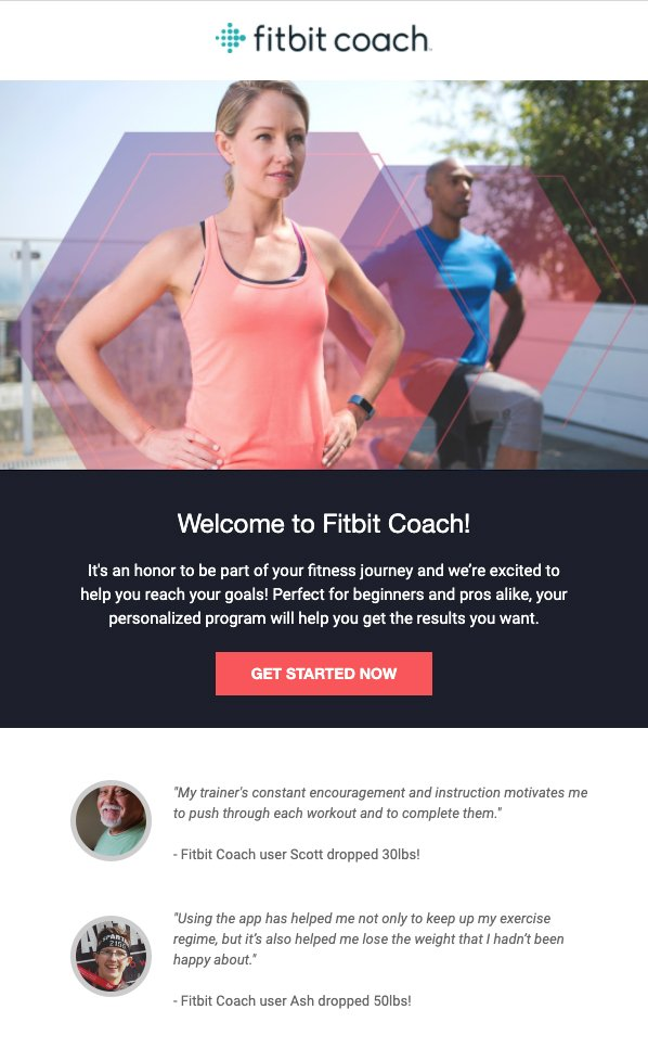 Fitbit coach program welcome email example
