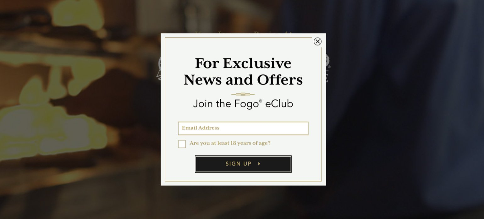 restaurant email list building - Fogo de Chao pop-up example