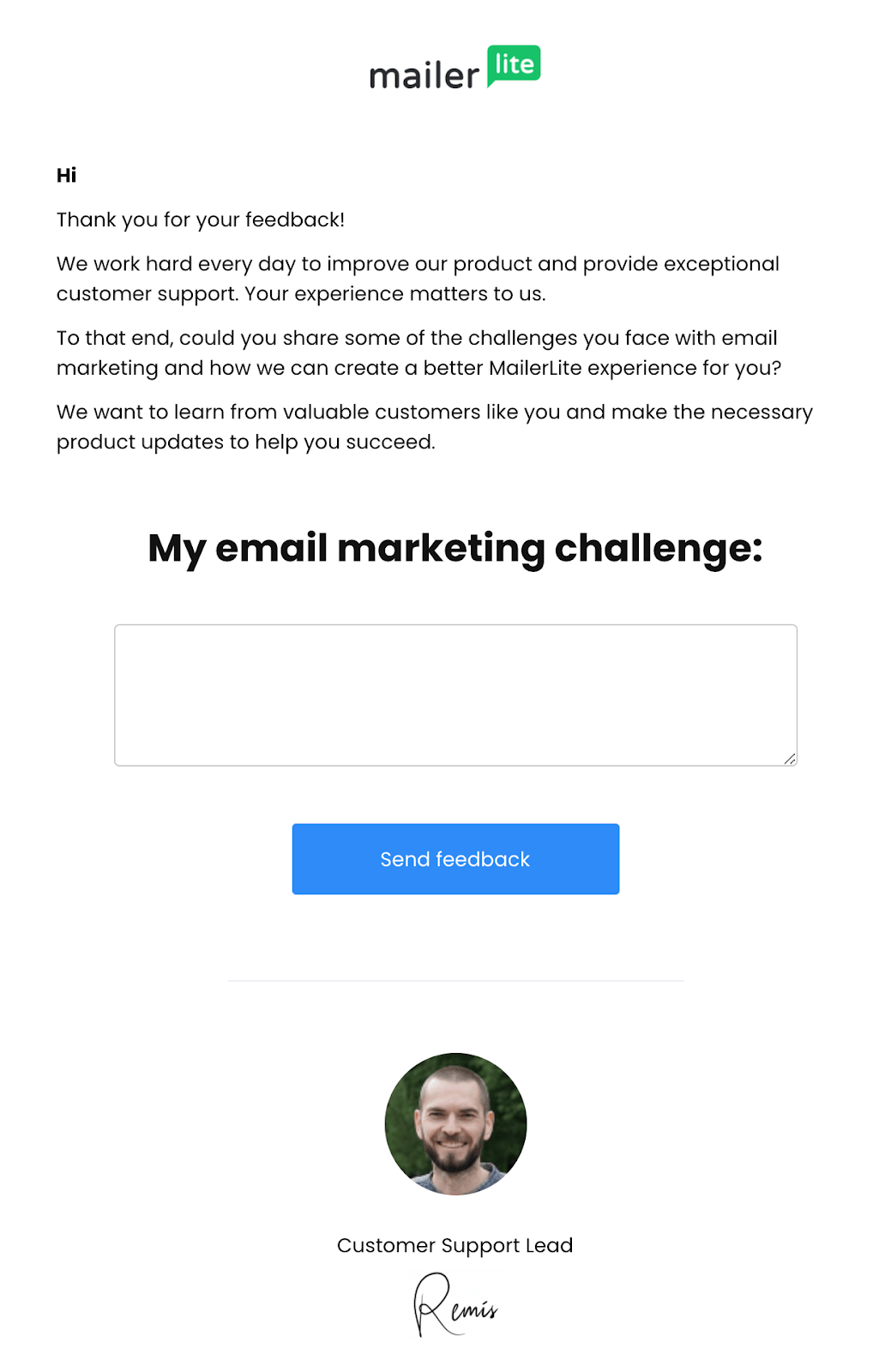 Follow up email from customer support manager mailerlite