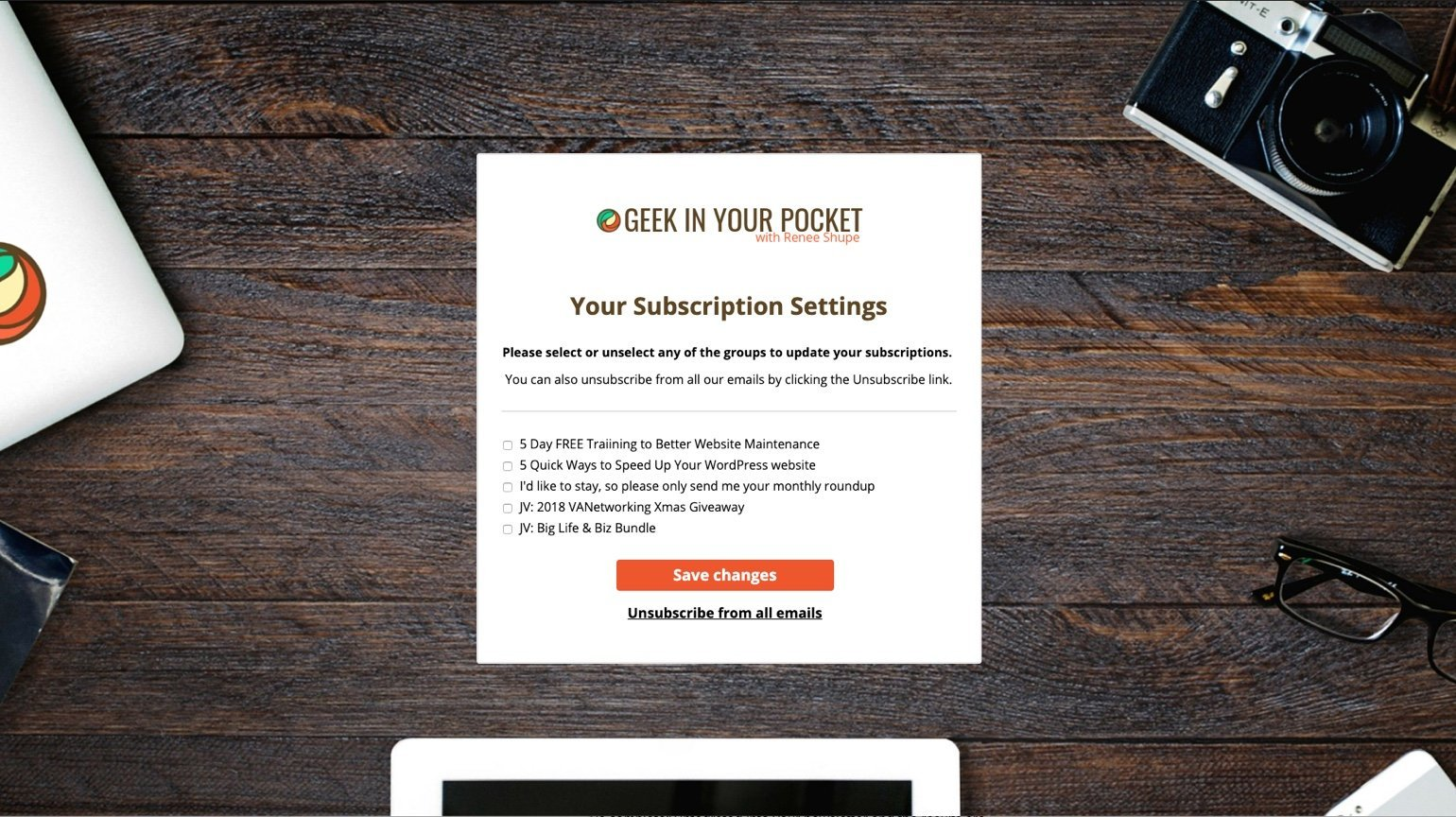 Geek in your pocket unsubscribe page example
