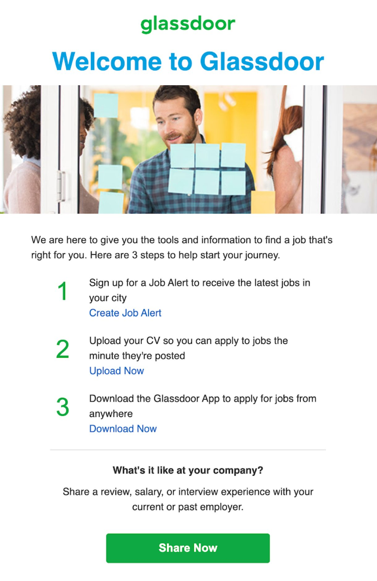 Glassdoor welcome email example people discussing in front of a glass door