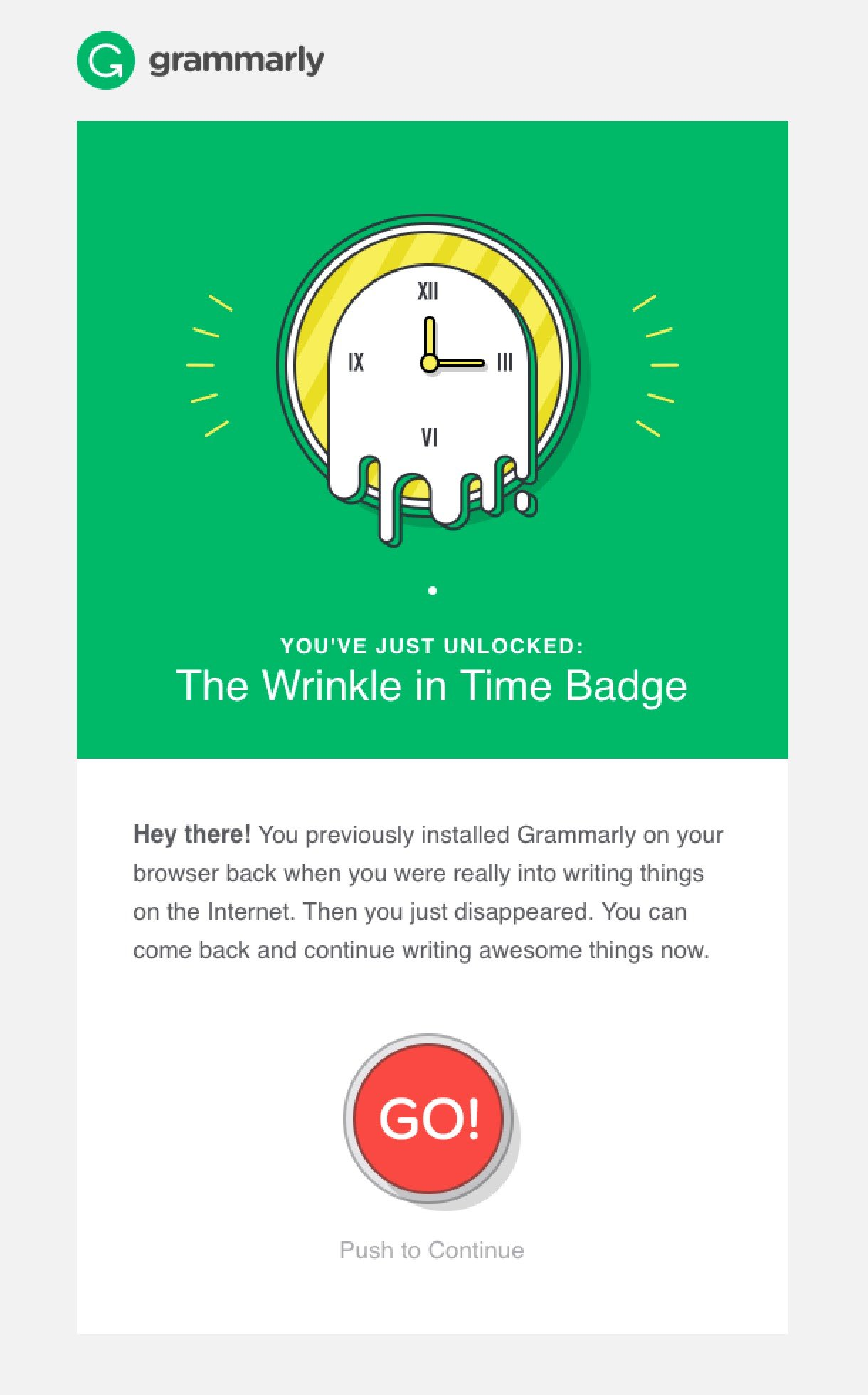 Grammarly re engagement email campaign example