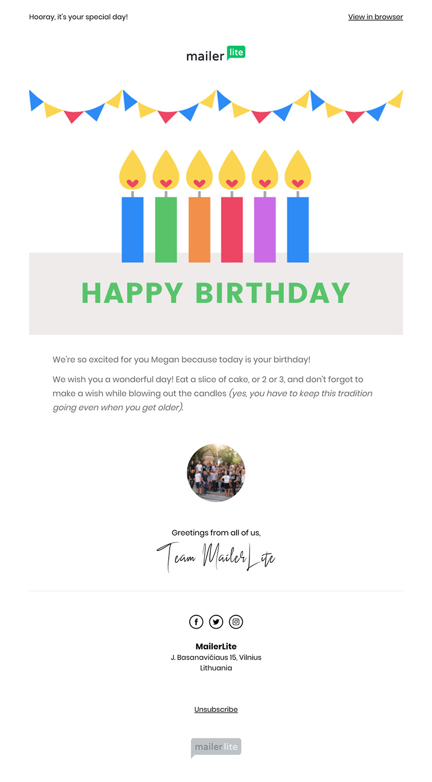 Happy birthday email MailerLite