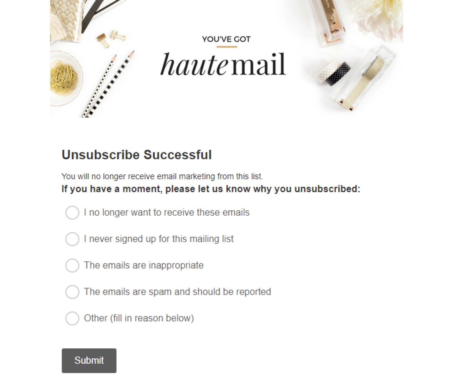 Haute mail unsubscribe page example